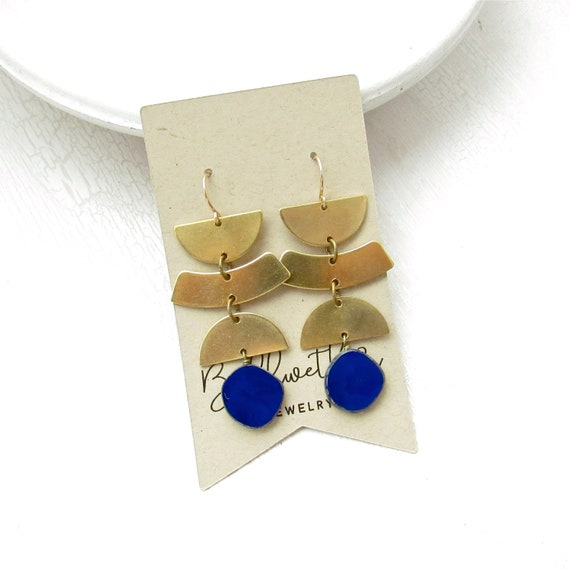 Phase Earrings > Navy