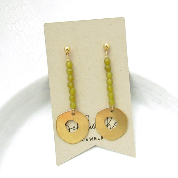 Pendulum Earrings > Olive Jade