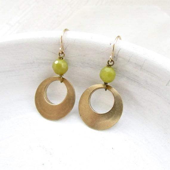WHOLESALE LISTING // Halo Gemstone Earrings - Olive Jade // EHGO