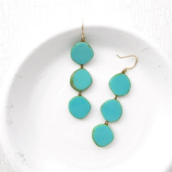 WHOLESALE LISTING // Dot Earrings - Turquoise // EDT