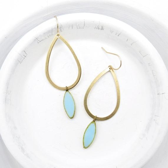 Gold Teardrop Earrings > Light Blue