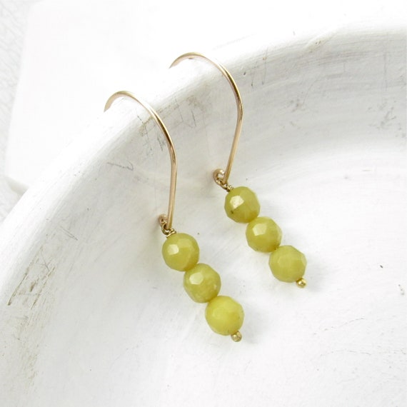 Gold Drop Earrings > Olive Jade