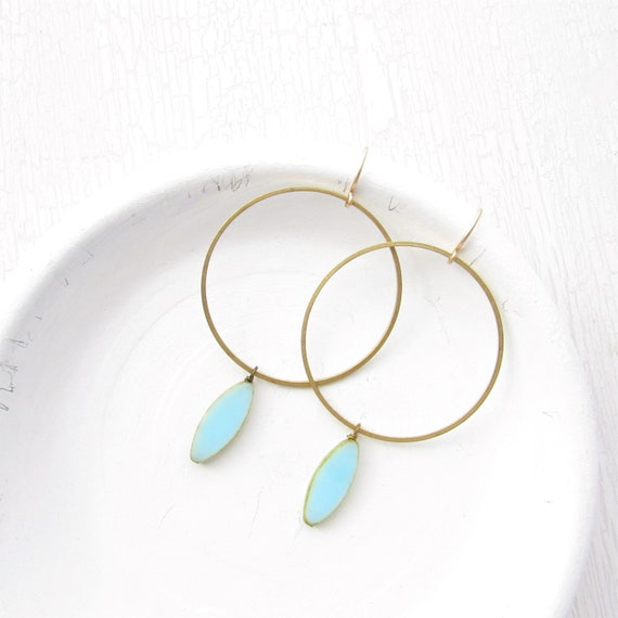 WHOLESALE LISTING // Gold Hoop Earrings - Blue // EGHB