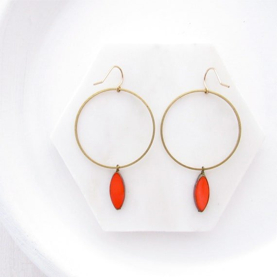 WHOLESALE LISTING // Gold Hoop Earrings - Coral // EGHC