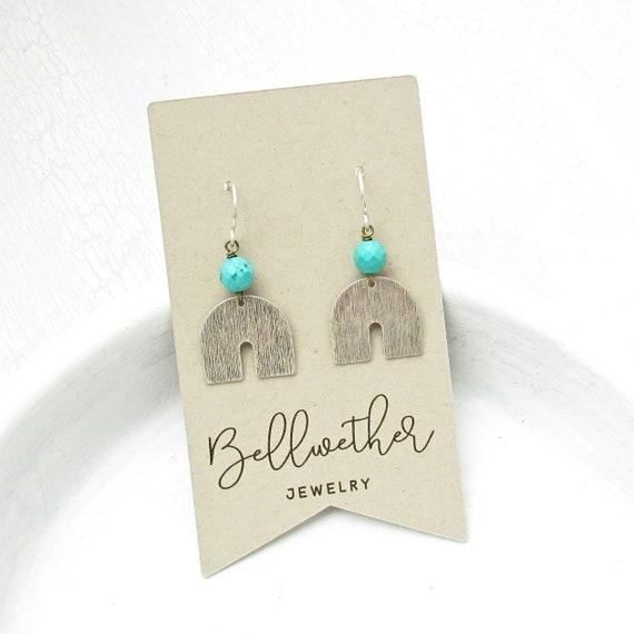 WHOLESALE LISTING // Horseshoe Earrings - Turquoise Magnesite // EHST