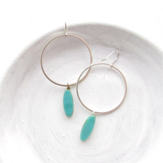 Silver Hoop Earrings > Turquoise