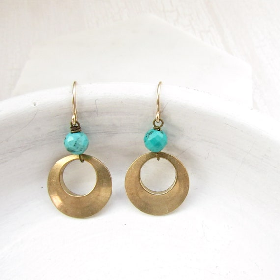Halo Gemstone Earrings > Turquoise Magnesite