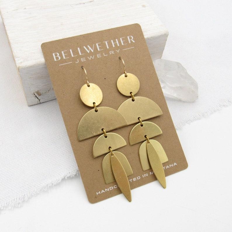 Statement Earrings Gold / Brass Boho Earrings / Tribal image 1