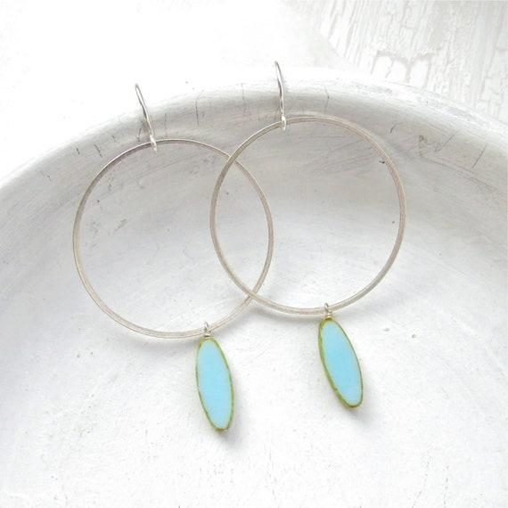 WHOLESALE LISTING // Silver Hoop Earrings - Blue // ESHB