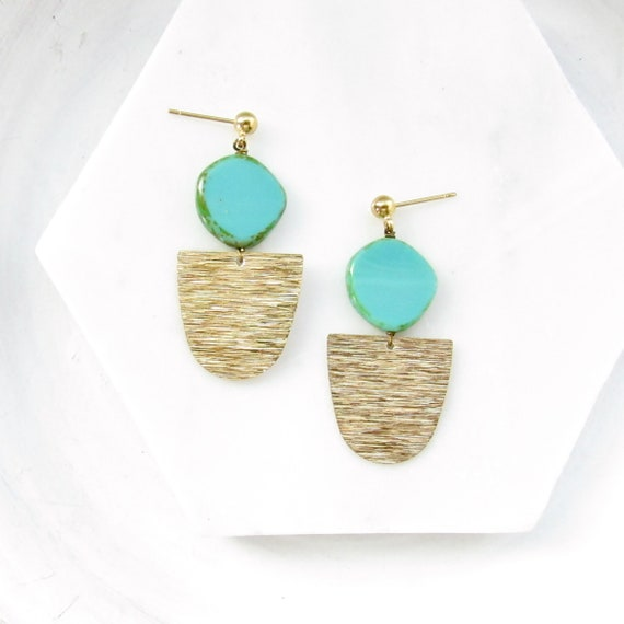 Gold Paddle Stud Earrings > Turquoise