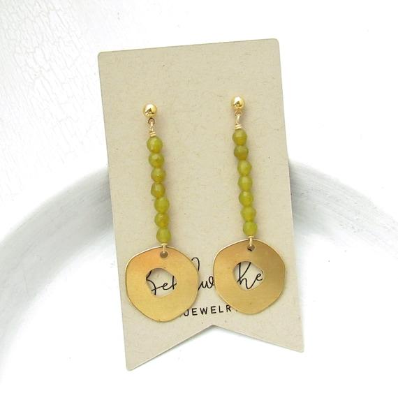 WHOLESALE LISTING // Pendulum Stud Earrings - Olive Jade // EPSO