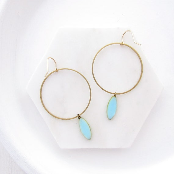WHOLESALE LISTING // Gold Hoop Earrings - Blue // EGHB