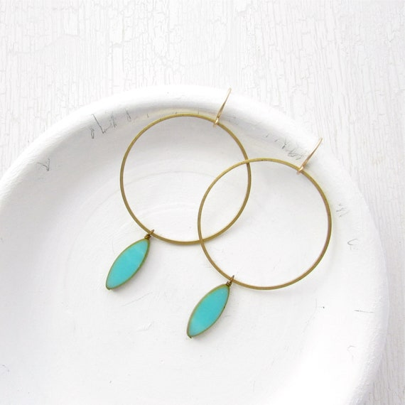 WHOLESALE LISTING // Gold Hoop Earrings - Turquoise // EGHT