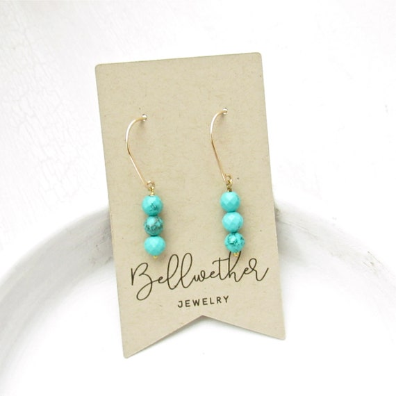 Gold Drop Earrings > Turquoise Magnesite