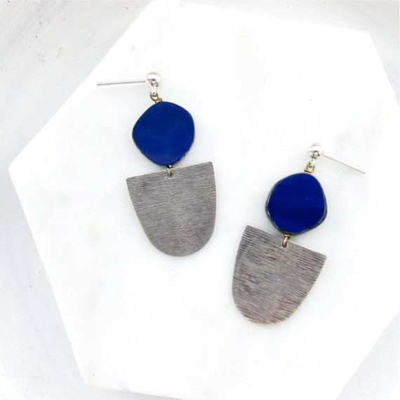 WHOLESALE LISTING // Silver Paddle Studs - Navy // ESPN