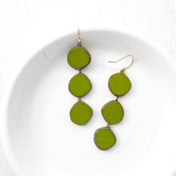 WHOLESALE LISTING // Dot Earrings - Olive // EDO