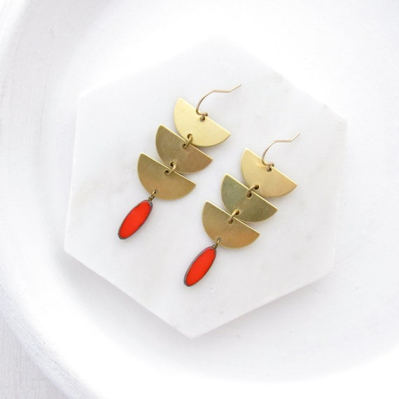 WHOLESALE LISTING // Abstract Earrings - Coral // EABC