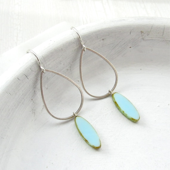 Silver Balance Earrings > Blue