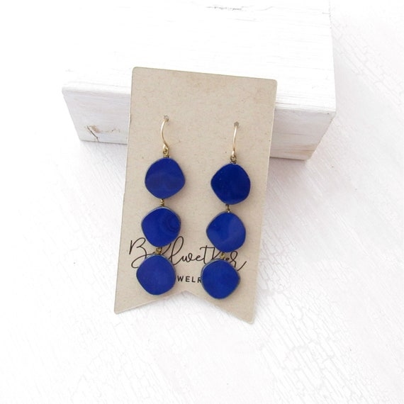 WHOLESALE LISTING // Dot Earrings - Navy // EDN