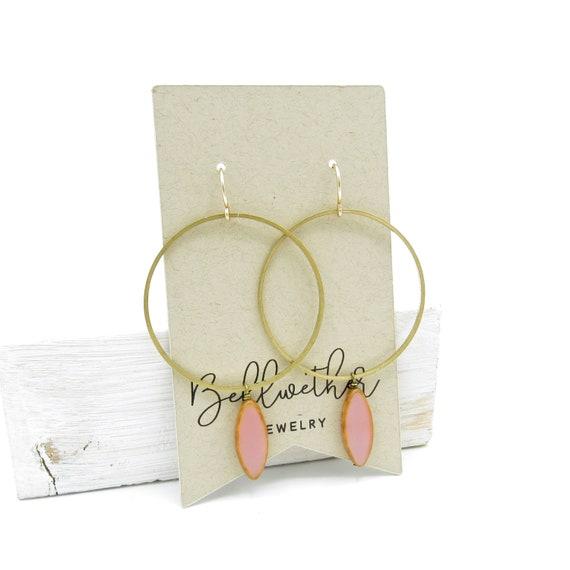 Gold Hoop Earrings > Pink
