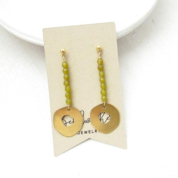 Pendulum Earrings > Olive Jade