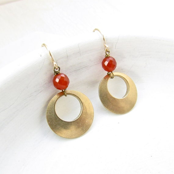 Halo Gemstone Earrings > Carnelian