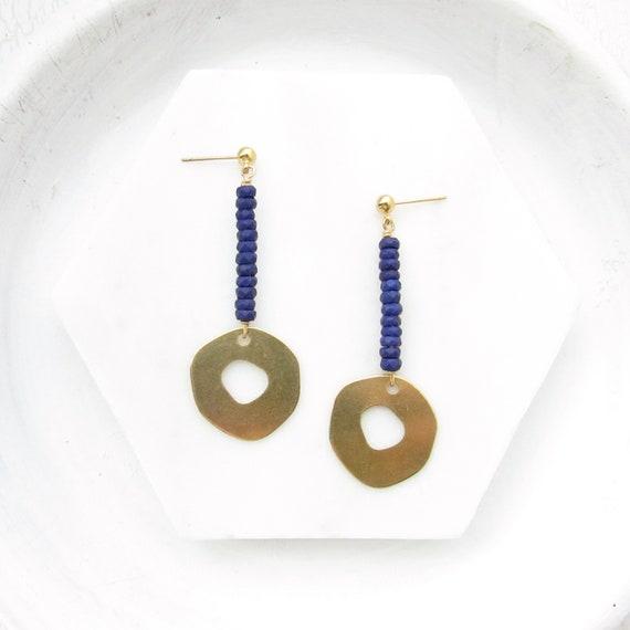 WHOLESALE LISTING // Pendulum Stud Earrings - Navy // EPSN