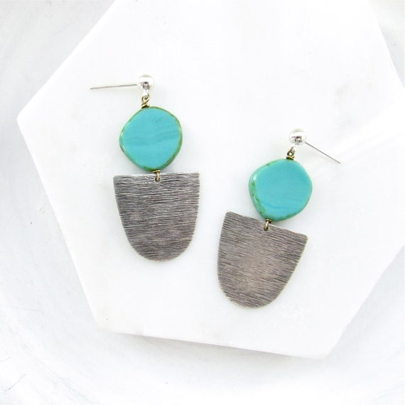 Silver Paddle Stud Earrings > Turquoise