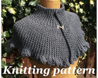 PDF knitting pattern Victoria capelet, knitted cape, victorian style, steampunk, gothic capelet, easy shrug, stylish neckwarmer,