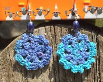 Boho crochet earrings, blue crochet earrings with dark blue glass beads, bohemian earrings, bohochic, gypsy style