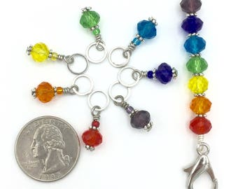 Rainbow stitch markers with holder for knitting and crochet, snag free removable pride progress keepers, Gifts for knitters, crochet gift