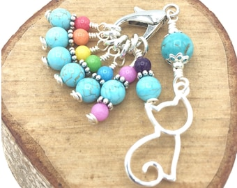 Turquoise cat stitch markers for knitting, extra small snagfree rainbow progress keepers, knitting notions gifts for knitters