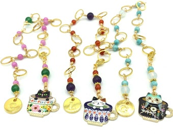 Personalised cat row counter chain for knitting, snag free progress keepers, knitting accessories and notions gifts for knitters