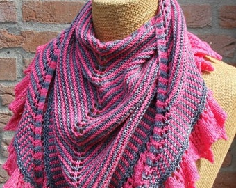 Knit scarf patterns for women, shawl and wraps knitting pattern, triangular knitted wrap tutorial, knitting accessories gifts for knitters