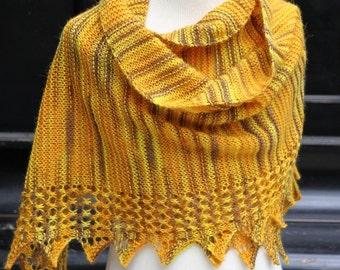 PDF knitting pattern scarf, garter stitch lace, reversible shawl, wrap: Ishka