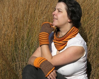 Fingerless glove knitting pattern, cowl knitting pattern, knitted fingerless mitts and cowl pattern set  Round and Round
