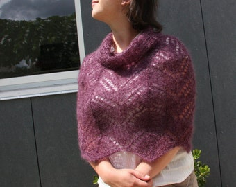 Capelet knitting patterns for women, knitted lace poncho pattern, cowl neckwarmer downloadable patterns, shawls and wraps knit accessories