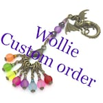 Wollie Custom listing | rainbow frosted bead stitch markers with purple stitch marker holder | blue frosted beaded key chain holder | gift
