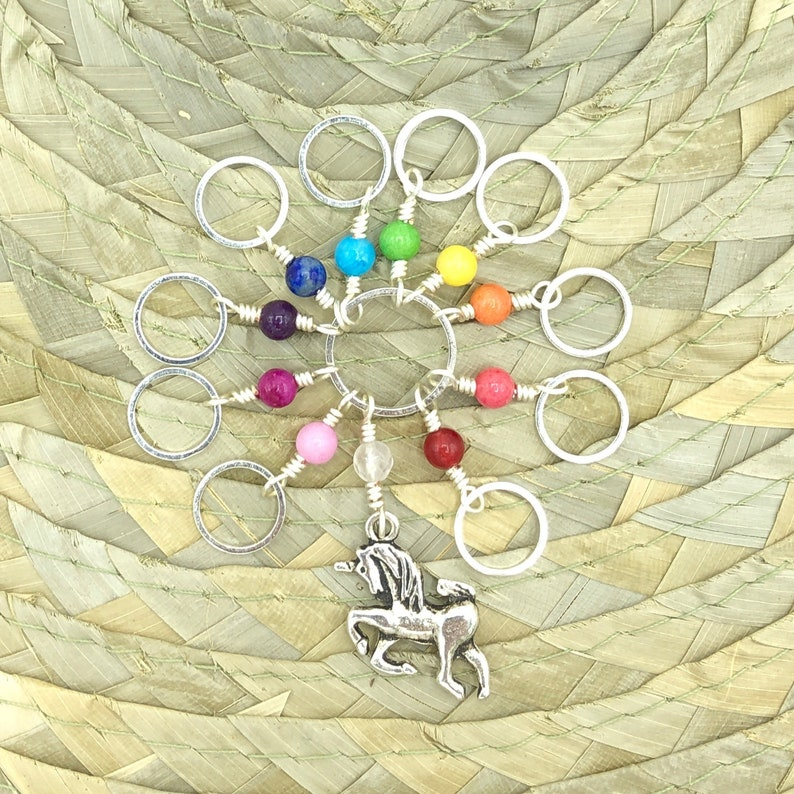 knitting row counter with closed rings rainbow unicorn image 0