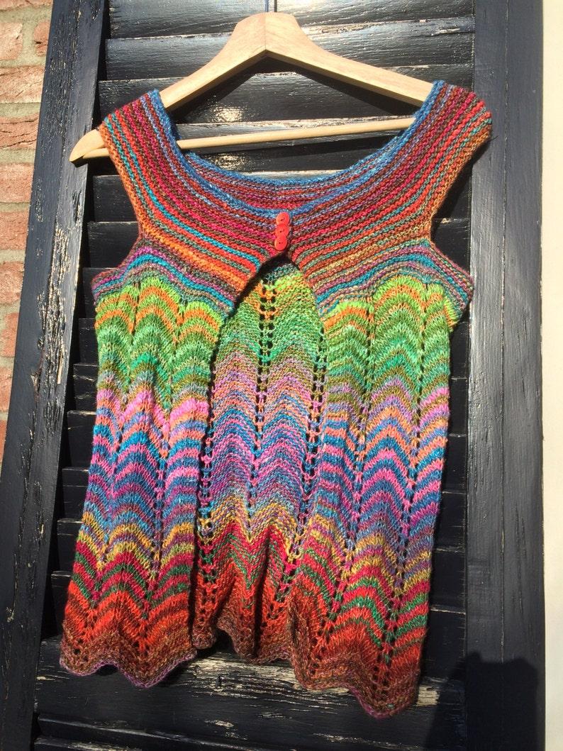 Pdf knitting pattern vest sleaveless cardigan kaleidoscope image 0