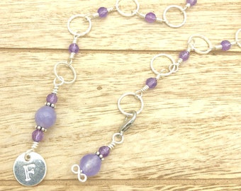 Personalised amethyst row counter chain for knitting, snag free progress keepers, knitting accessories and notions gifts for knitters