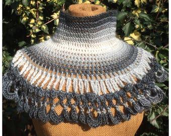 Crochet cowl, neckwarmer, capelet in gray, gift for her, handmade capelet
