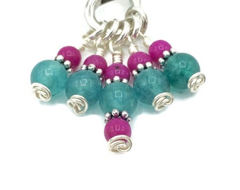 Sea green gem stitch markers for knitting, extra small snagfree progress keepers, knitting notions gifts for knitters
