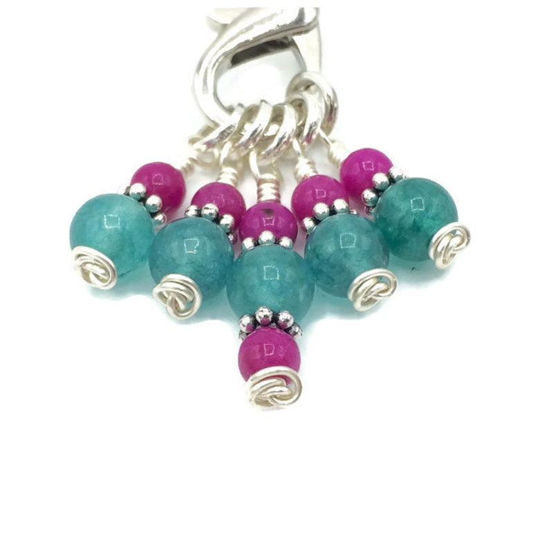 Sea green gem stitch markers for knitting extra small image 0