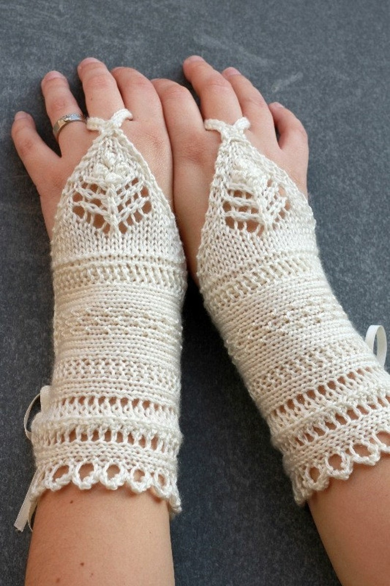 Fingerless gloves knitting pattern knittted beaded lace cuffs image 0