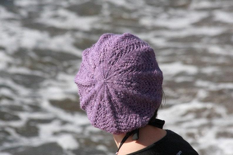PDF knitting pattern hat tam beret lace Audria image 0