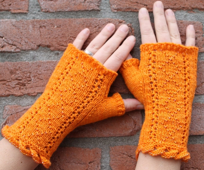 Knitting pattern for fingerless gloves with lace and beads image 0