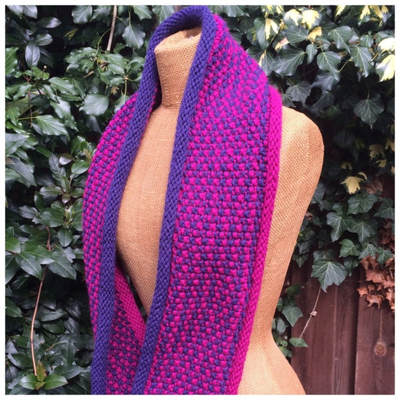 Infinity Scarf Knit Pattern Textured Circle Scarf Knitting Etsy
