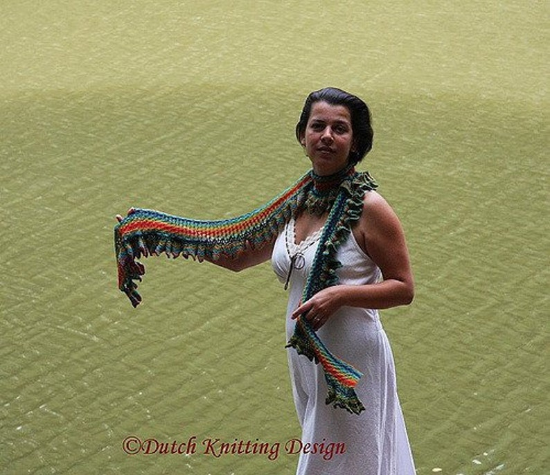 Long lace knitted scarf pattern summer ruffle neck scarf image 0