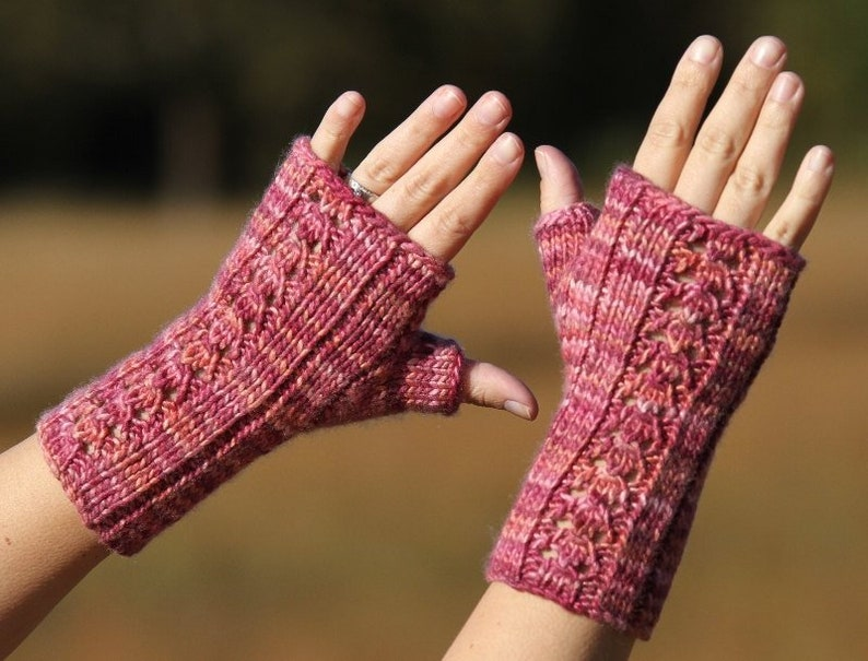 PDF knitting pattern fingerless gloves mitts mittens lace image 0